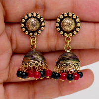 Wholesale Beautiful New Look Oxidized Gold Plated Colour Beads Jhumka Earring