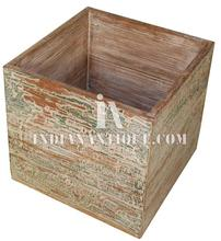 SOLID WOOD INDIAN FURNITURE HAND PAINTED ANTIQUE DISTRESSED FINISH WOODEN PLANTER BOX IA-DIS-163