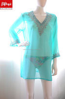 Best Fabulous kurti sheer top beach dress beach wear turquoise blue thread embroidery kurta 2015