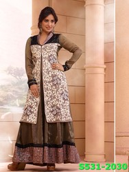 Indian Model Neha Sharma Georgette Peech Coloured Partywear Salwar Kameez Designs For Stitching