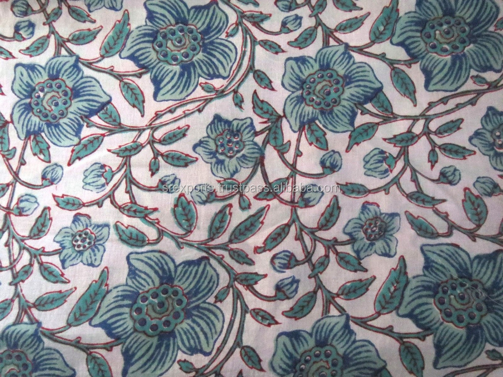 Handmade Indian Block Print Fabric Natural Sanganeri Cotton Fabric Sanganeri Natural Dye Clothing Material Craft Fabric