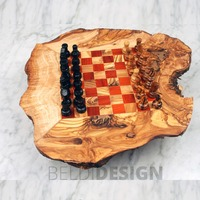 Handcrafted Olive Wood Natural Rustic Wooden Chess Board In Red by Artisans in Tunisia