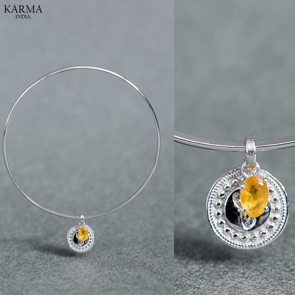 925 Silver Bangle & Bracelets Jewelry/925 Sterling Silver Birthstone Bangle series, with Citrine 'Angel' Motiff