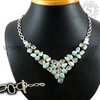 Wholesale Jewellery/ Natural Larimar & Rainbow Moonstone Gemstone Silver Necklaces/ Handmade Cheap Jewellery NKCB2001-4
