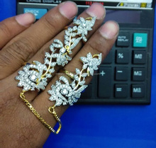 Bollywood Style American Diamond Two Finger Ring-Wholesale American diamond Full Finger ring-imitation Costume jewelry
