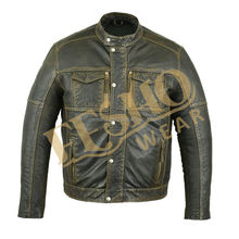 Black Brown Wash Waxed Leather Jacket for men New Fashion design Pakistan