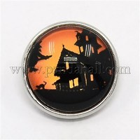 Halloween Platinum Plated Brass Glass Flat Round Halloween Seris Castle Snap Buttons SNAP-M032-B-18