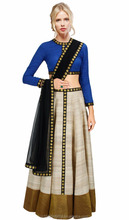 Shadi Special Newyear Cream Blue Royal Wedding Lehenga Choli Plus Size