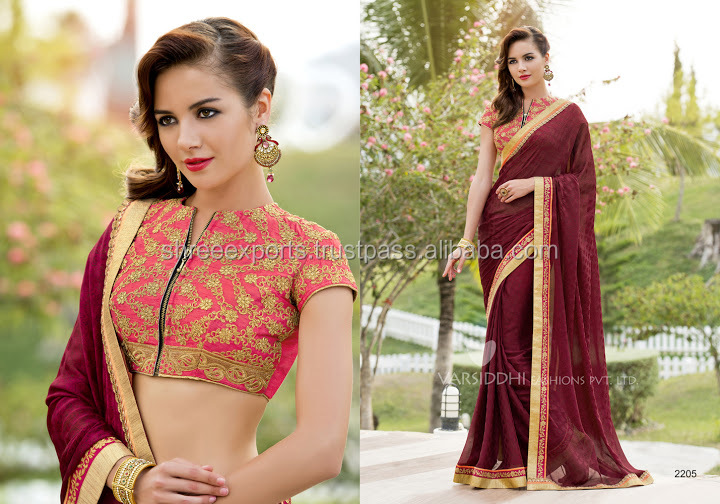 Chiffon Satin Maroon Designer Saree/heavy lacha lehenga style saree/plain saree with border