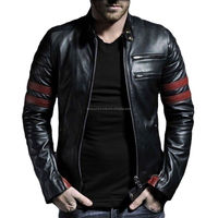 MEN GENUINE SHEEP LEATHER BLACK SLIM FIT BIKER STYLE/Leather Garments