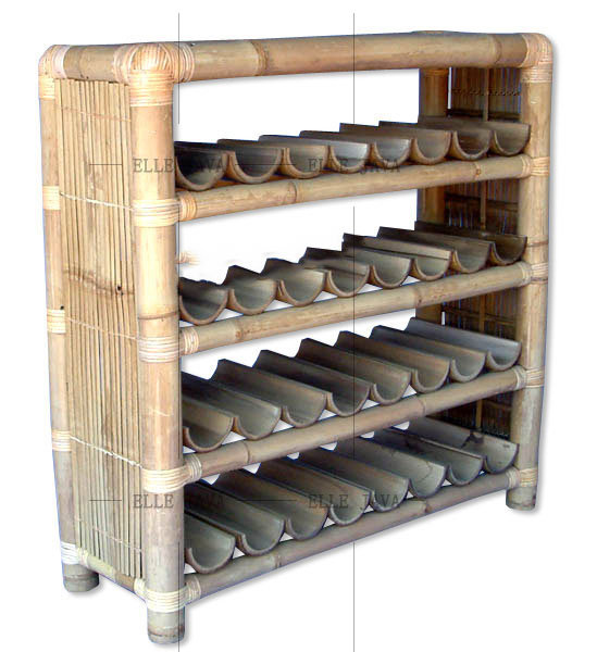 Unique Design Bamboo Wine Racking with 4 Layers