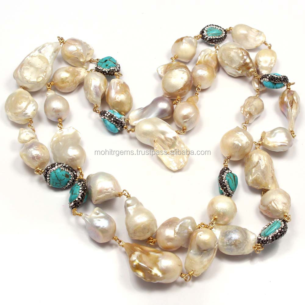 "36"" Inch Long Blister Pearl,Turkish Turquoise Connector Endless Long Beaded Jewelry Necklace"