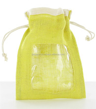 wholesale jute drawstring bag with pvc window in india