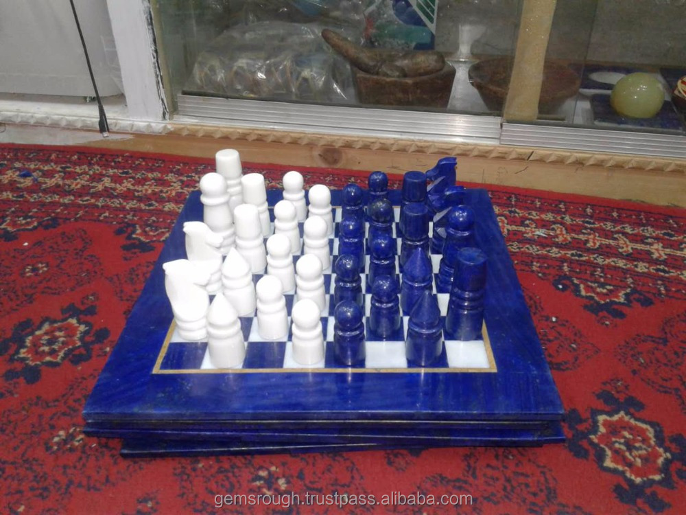 Chess Game Made of Lapis and Calsite