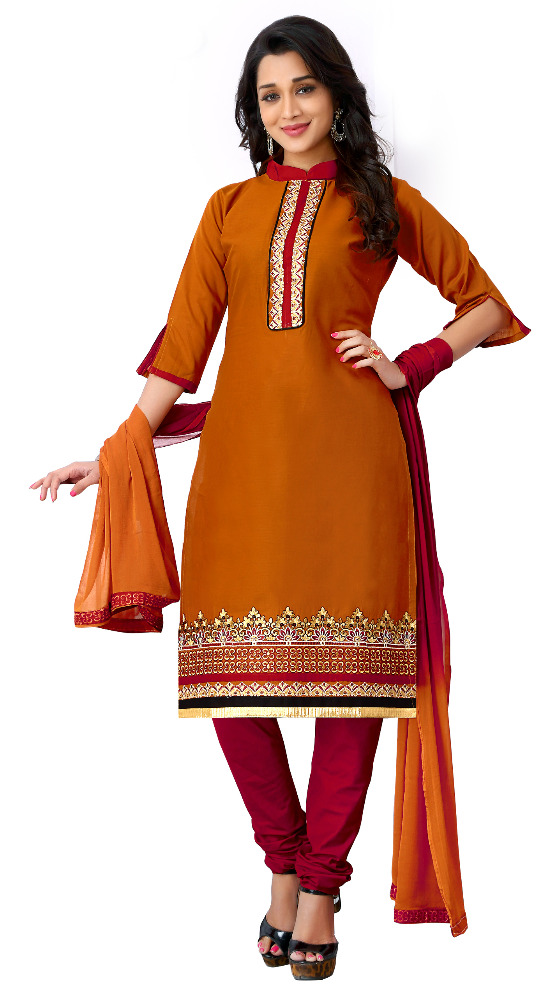 Women's Unstitched Mustard Orange Colour Embroidery Chudidar Dress Material / Daily Wear Low Price