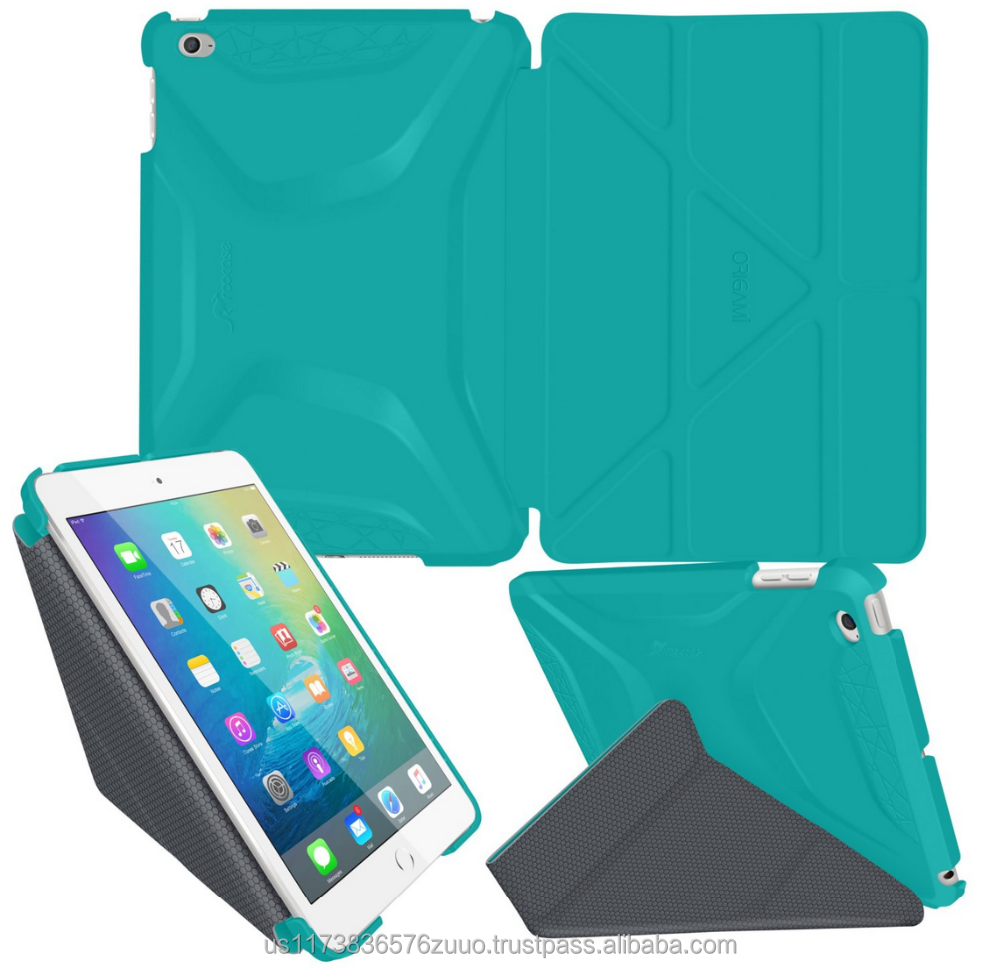 Ultra Slim Lightweight Smart Cover PC Shell PU Leather Folio Case Magnetic Auto Sleep Wake for iPad Mini 4 roocase (turquoise)