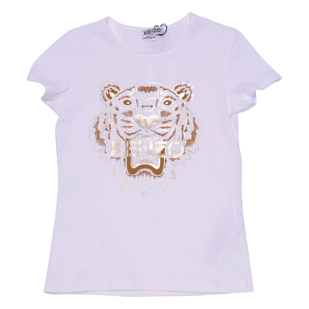 White cotton jersey Tiger T-shirt
