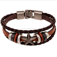 Fashion Alloy buckle Wristband font b Leather braided Bracelets
