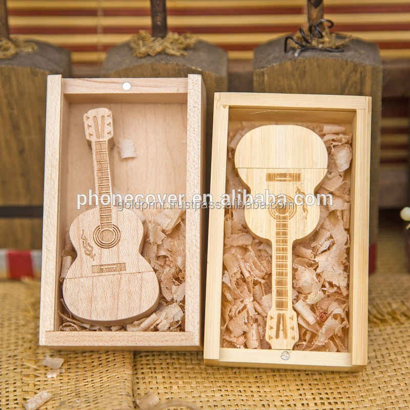 Promotional Wooden USB Drive (Guitar Shaped) with Box - GPWPD-1601C