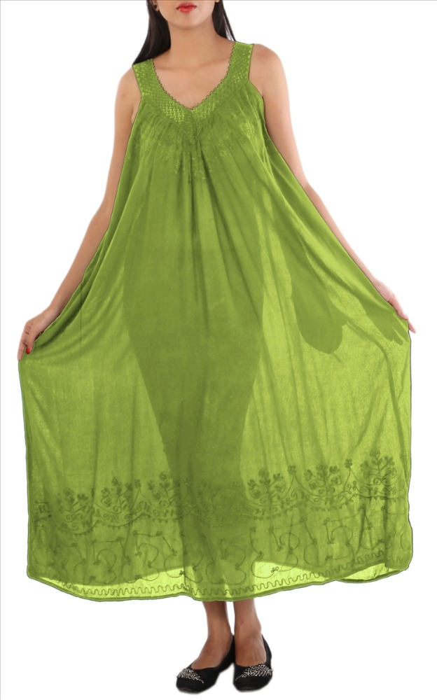 Skirts & Scarves Rayon Deep V-Neck Long Sleeveless Maxi/ Sun Dress For Women (Green)