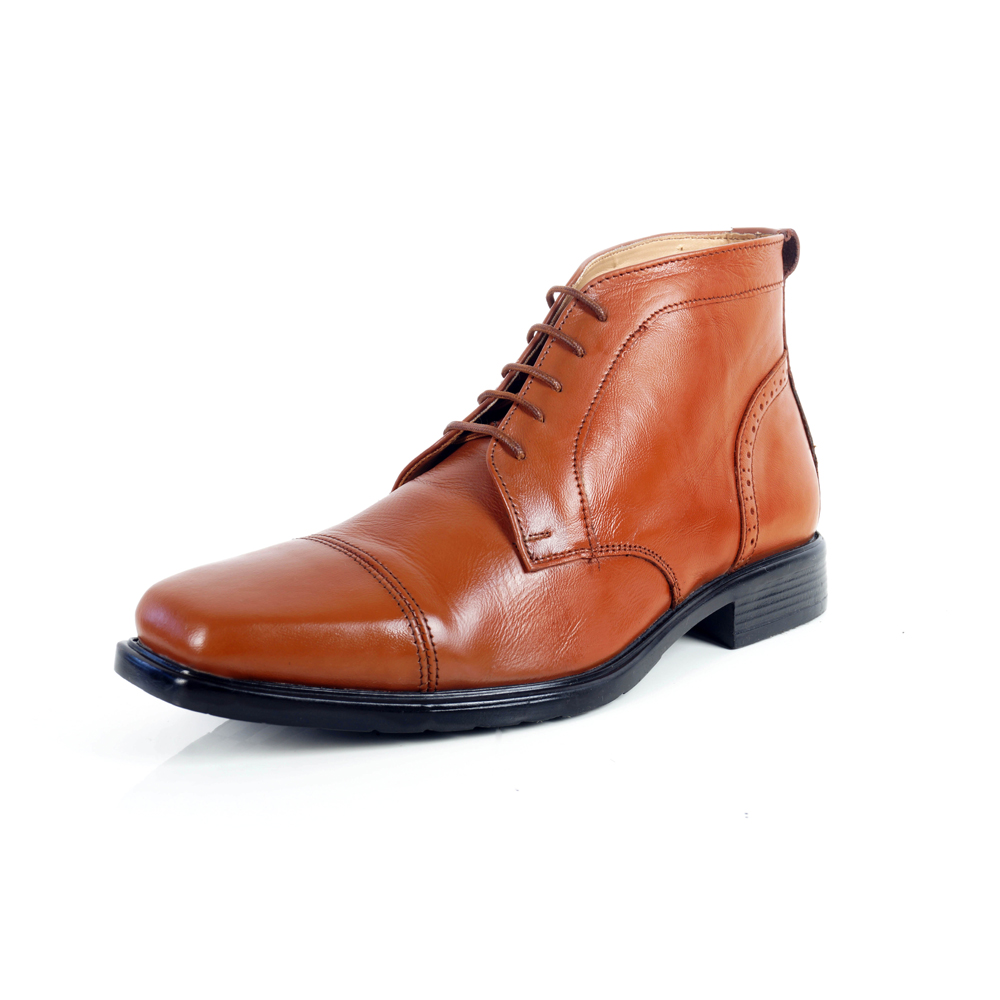 Men's High Ankle Brown Formal Leather Shoes