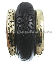 Dark brown color flower designer wooden Bangle with golden brass bangles set