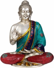 Traditional Home Decorative Blessing Lord Buddha with Inlay Work Statue 1.5 feet