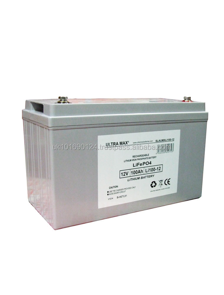 ULTRAMAX LITHIUM LI100-12 , 12V 100Ah BATTERY WITH CHARGER FOR Golf Trolley, Mobility Scooter + UK TO EU PLUG ADAPTOR