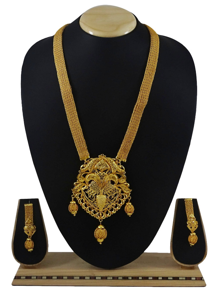 Goldplated Ethnic Bollywood Designer 2Pcs Necklace Earring Set Women Jewelry IMRB-BNG164A