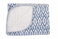 Indian Handmade Kantha Quilt 100% Cotton Quilt Block Print Baby Quilt Blanket