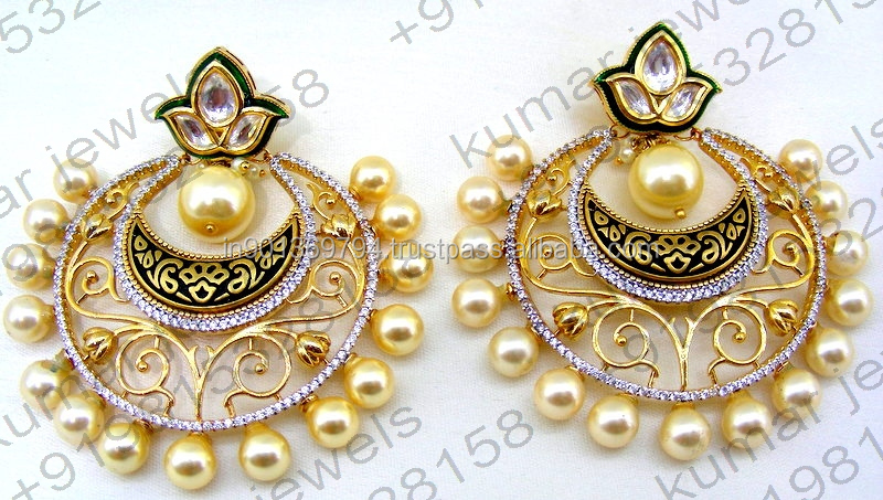 Big Round Diamond Look Fine CZ Stone Kundan Golden Pearl Beaded Filigree Work 22kt Gold Plated Party Wear Design Mughal Earrings