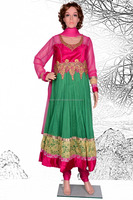 Wholesale Readymade Suits Online-New Fashion Green Ready Made Stitched Embroidery Net/Velvet Anarkali Dress @ USD 21