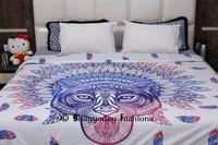 Hand Block Printed Light Weight Soft Cotton Trible African Tiger Razai Queen Quilt