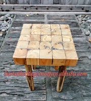 Unique Teak Wood Square Stool Chair Bar Furniture Home Decoration