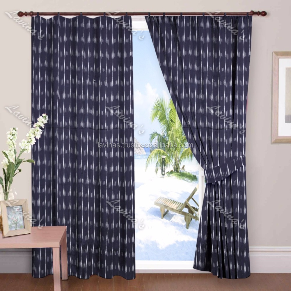 Cotton Ikat print Window Curtain Door Valances Drape Panel