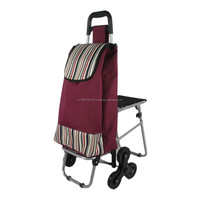 Advertising promotion products,cloth folding shopping cart with seat for market, good carrying helper for eldery