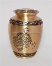 Brass Classic Cremation Urn With Parents and Baby