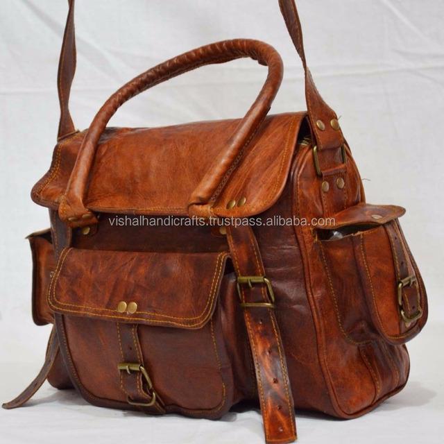 Real leather bag goat luggage carry bag vintage goat leather handbag for tr