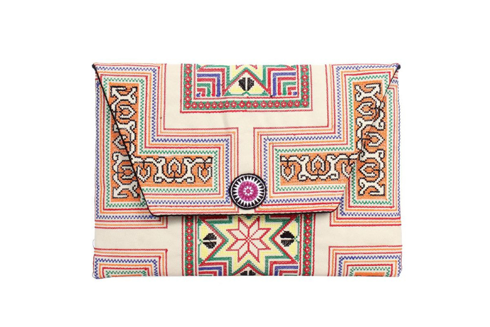 Sublime Clutch With A Yellow Karanstar Embroidered Pattern, Beige Heavy Fabric Material