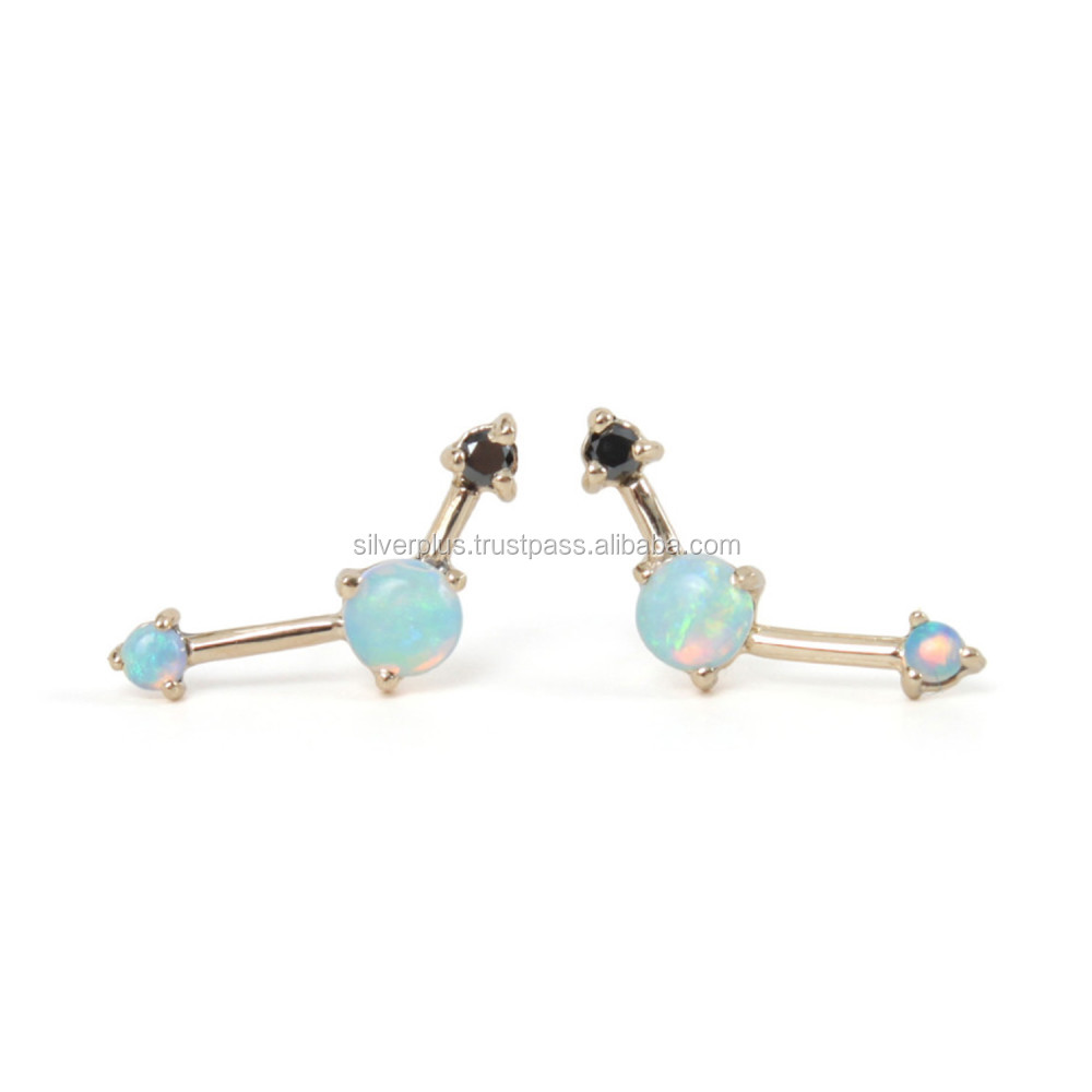 18k Yellow Gold Black Diamond Opal Stud Earrings, We have this studs in all three Gold Rose / Yellow / White