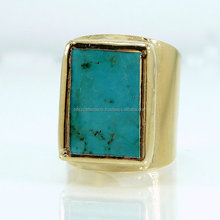 silver green turquoise single rough raw stone ring designs for ladies