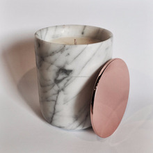 Marble candle holder /rose gold color candle holder ,jar with ,metal,marble pine lids