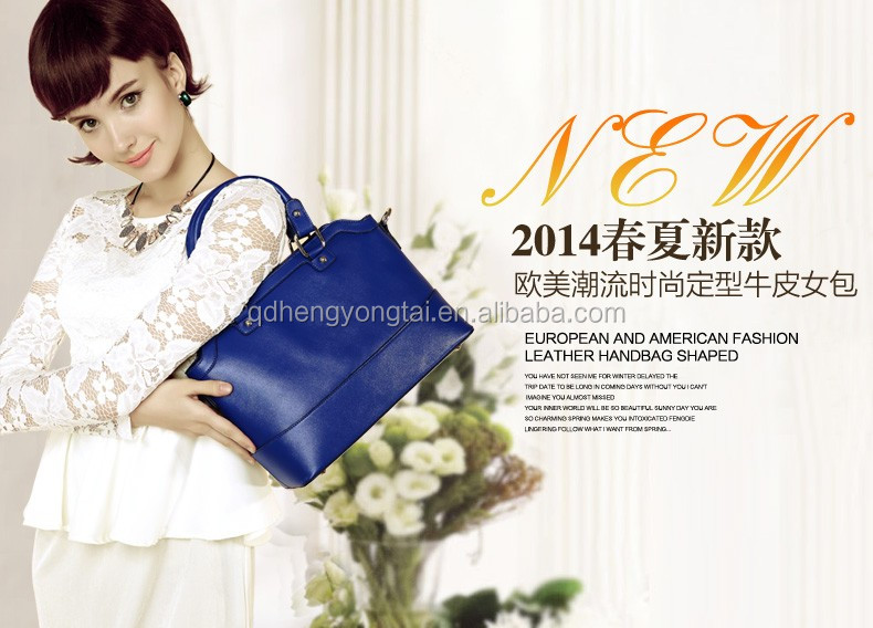 High quality navy women faux leather bag synthetic leather tote leatherette bag