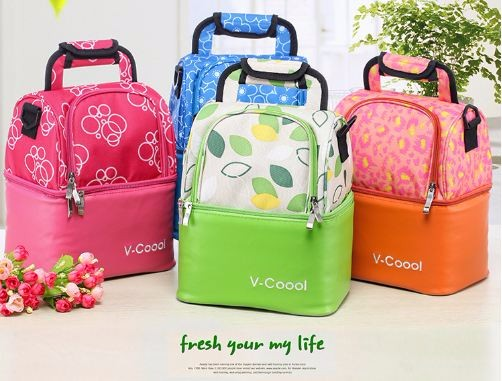V-Coool Lovely room Double Deck Cooler Bag Lunch Box Waterproof Lunch Box Bottle Insulation package Cooler Bag Portable