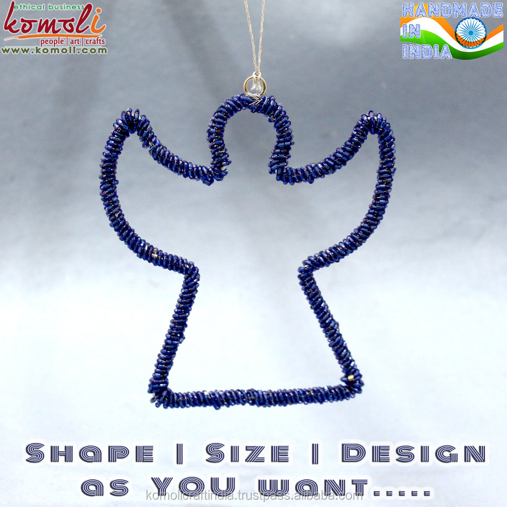 Blue beaded angel handmade hanging Christmas ornaments 2016