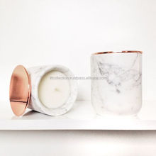 Candle with Metal Copper Lid White Marble Candle Holder Votive