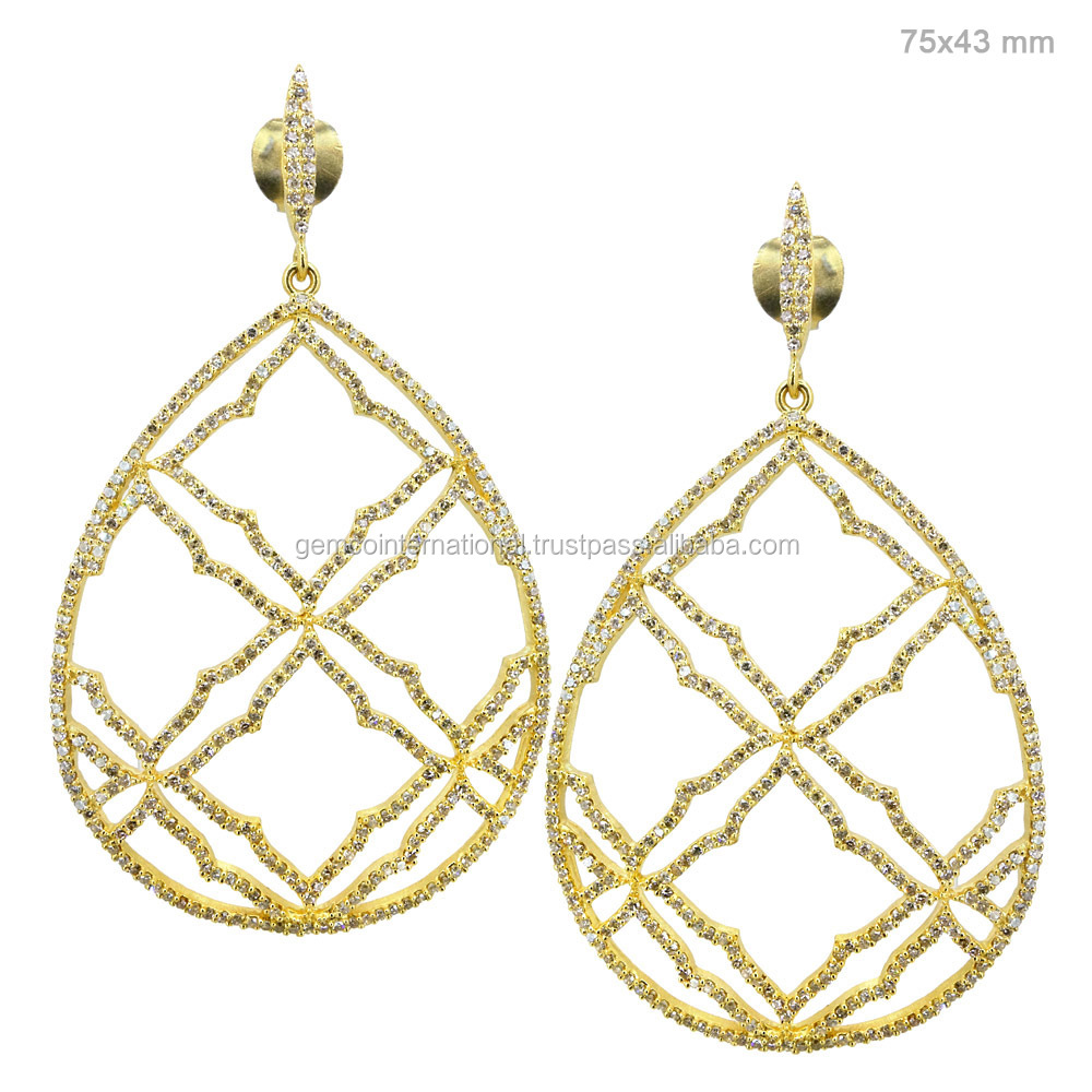 Indian 18kt Yellow Gold Jewelry Pave Diamond Designer Drop Earrings