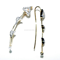 Cubic Zirconia Gemstone Gold Plated Heart Ear Cuff For Girls