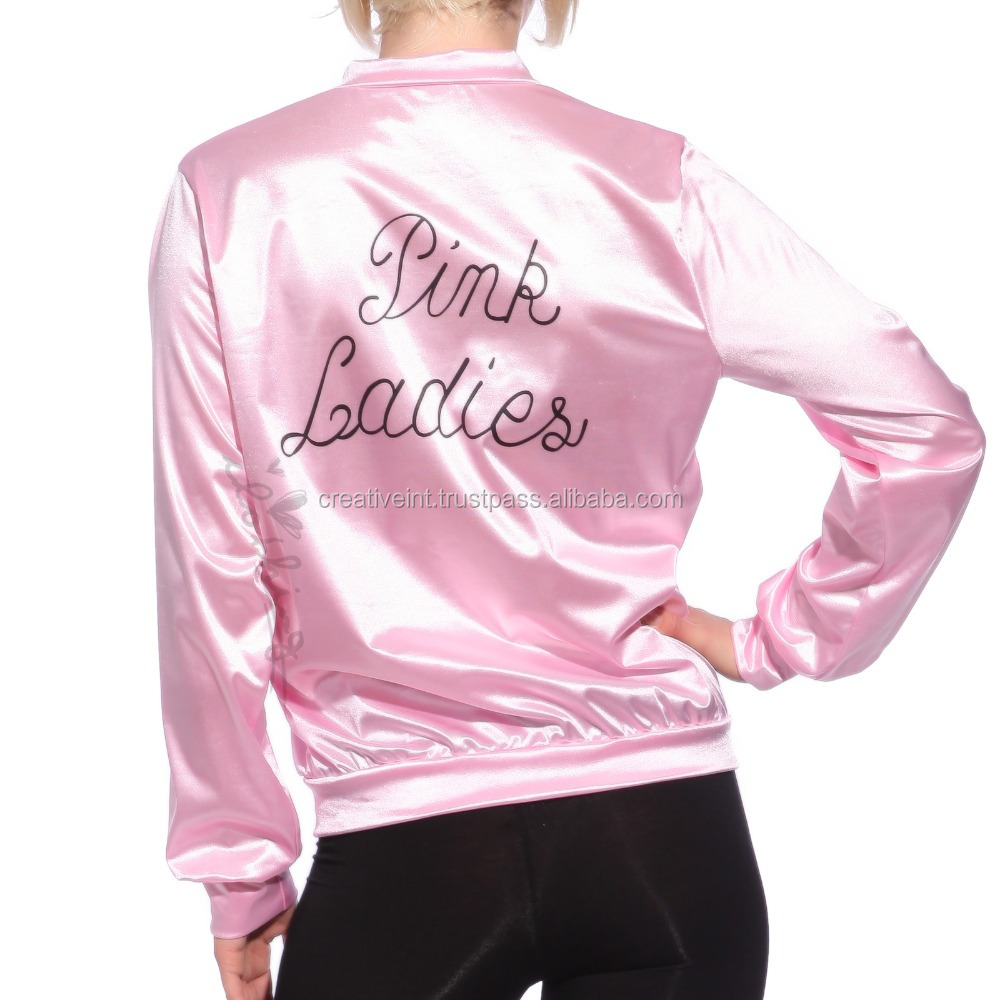 baby pink colour ladies jackets polyester satin bomber jacket/summer collection
