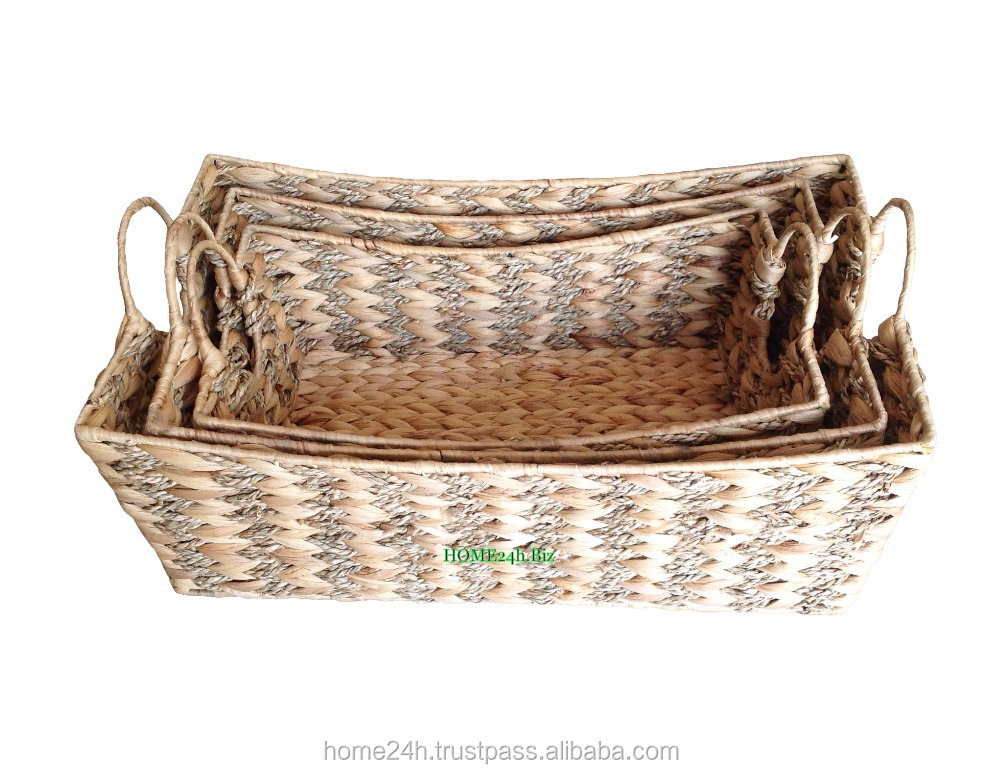 New product Water Hyacinth Fruit Baskets, Seagrass Rectangle Curved Top Basket, Natural color & Ring handle